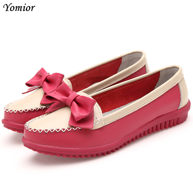 Yomior New Fashion Casual Women Shoes Genuine Leather Flat Shoes Bowknot Ladies Loafers Zapatos Mujer Mother Driving Shoes sweet women high quality bowtie pointed toe flock flat shoes women casual summer ladies slip on casual zapatos mujer bt123