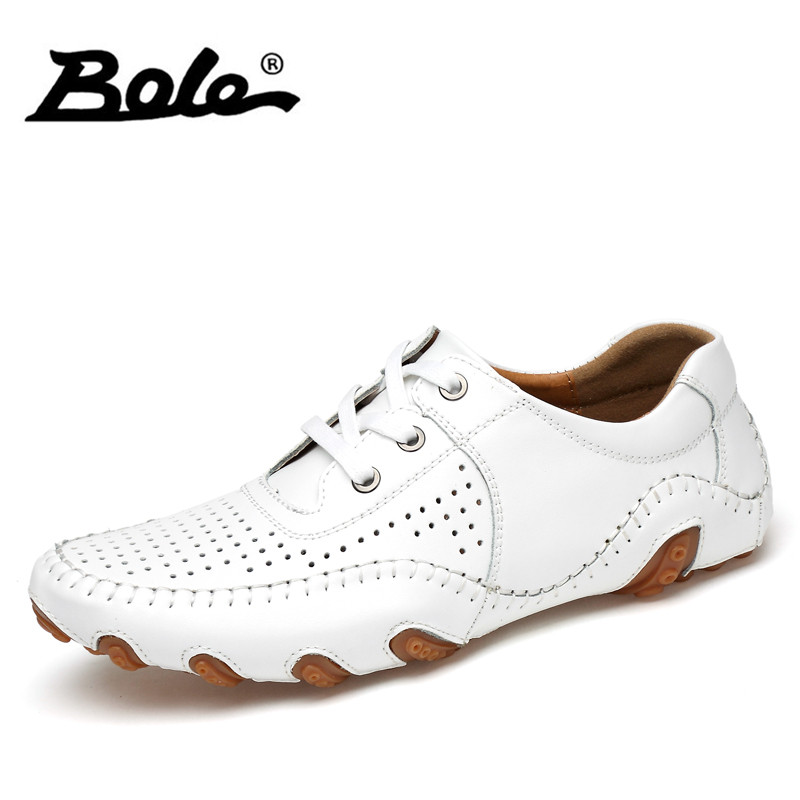 BOLE Slip on Casual Leather Shoes Men Loafers Spring and Autumn Mens Light Weight Genuine Leather Men's Flats Shoes