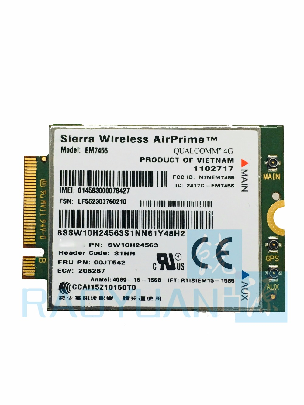 цена на 4G LTE WWAN CARD for Sierra Wireless Airprime EM7455 GOBI6000 QUALCOMM FRU:00JT542 For Lenovo X260 T460 P50 P70 L560 X1+Antenna