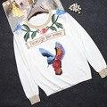Envío Gratis 2016 Otoño Blanco de Manga Larga Rosas Aves Bordado Suéteres Suéteres de Las Mujeres Runway Calidad Superior 90113