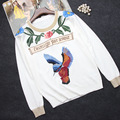 Free Shipping 2016 Autumn White Long Sleeves Birds Roses Embroidery Women's Sweaters Top Quality  Runway Pullovers 90113