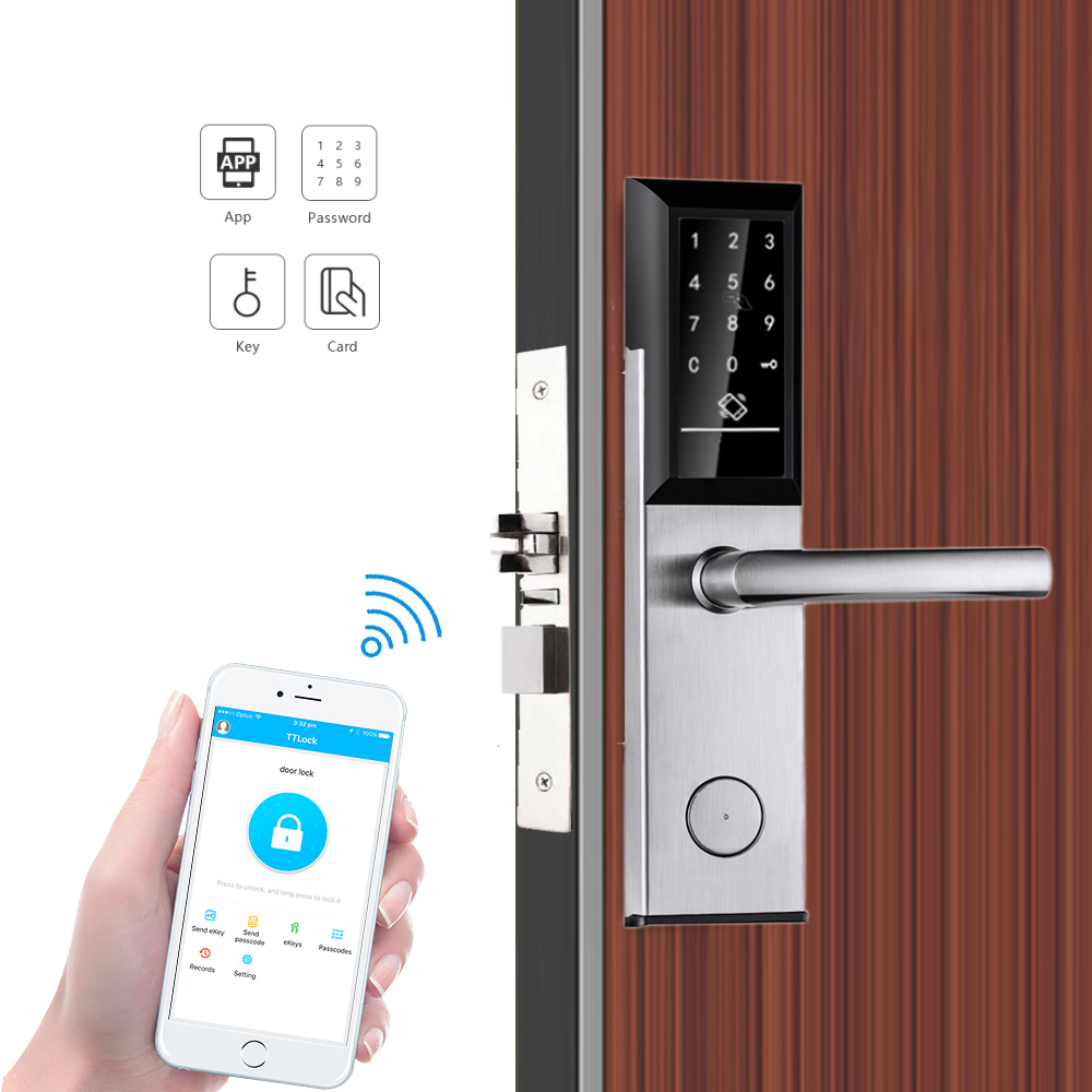 Bluetooth TTLock App Electronic Digital Door Lock Wifi Control Touch Keypad Code RFID Card Keyless Entry