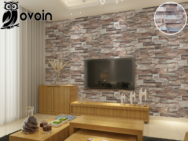 vinyl brown grey beige nature emboss 3d stone wall paper roll brick wall wallpaper for. Black Bedroom Furniture Sets. Home Design Ideas