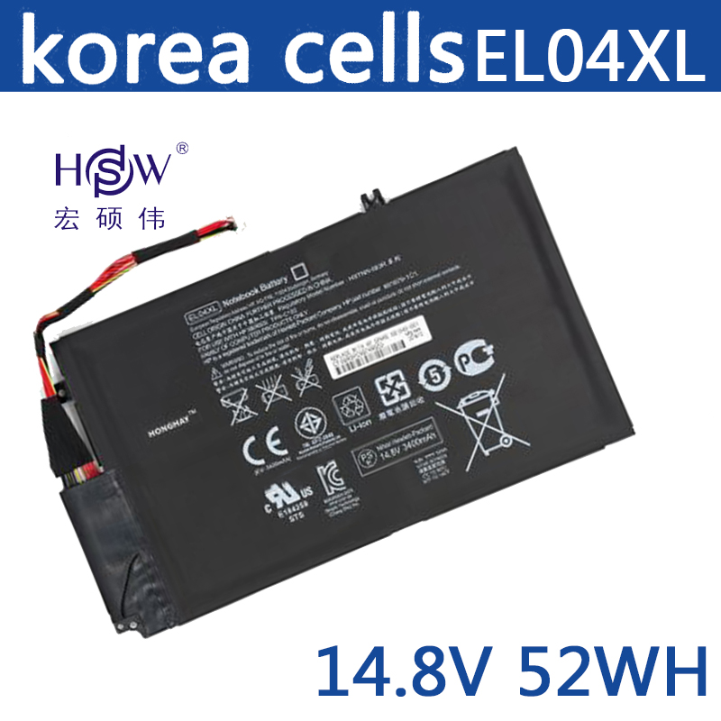 HSW 52wh 14.8V Battery for HP EL04XL TPN-C102 HTSNN-UB3R IB3R for ENVY 4 681879-1C1 681949-001 EL04XL HSTNN-IB3R TPN-C102 4-1001 new original 7 4v 21wh da02xl battery for hp tpn p104 664399 1c1 hstnn ib4c 694502 001 free shipping