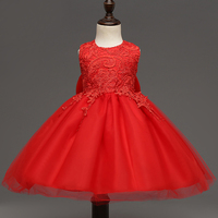 2017 High Quality Princess Dresses Little Girls White Pink Red Wedding Flower Dress Cute Baby Ropa