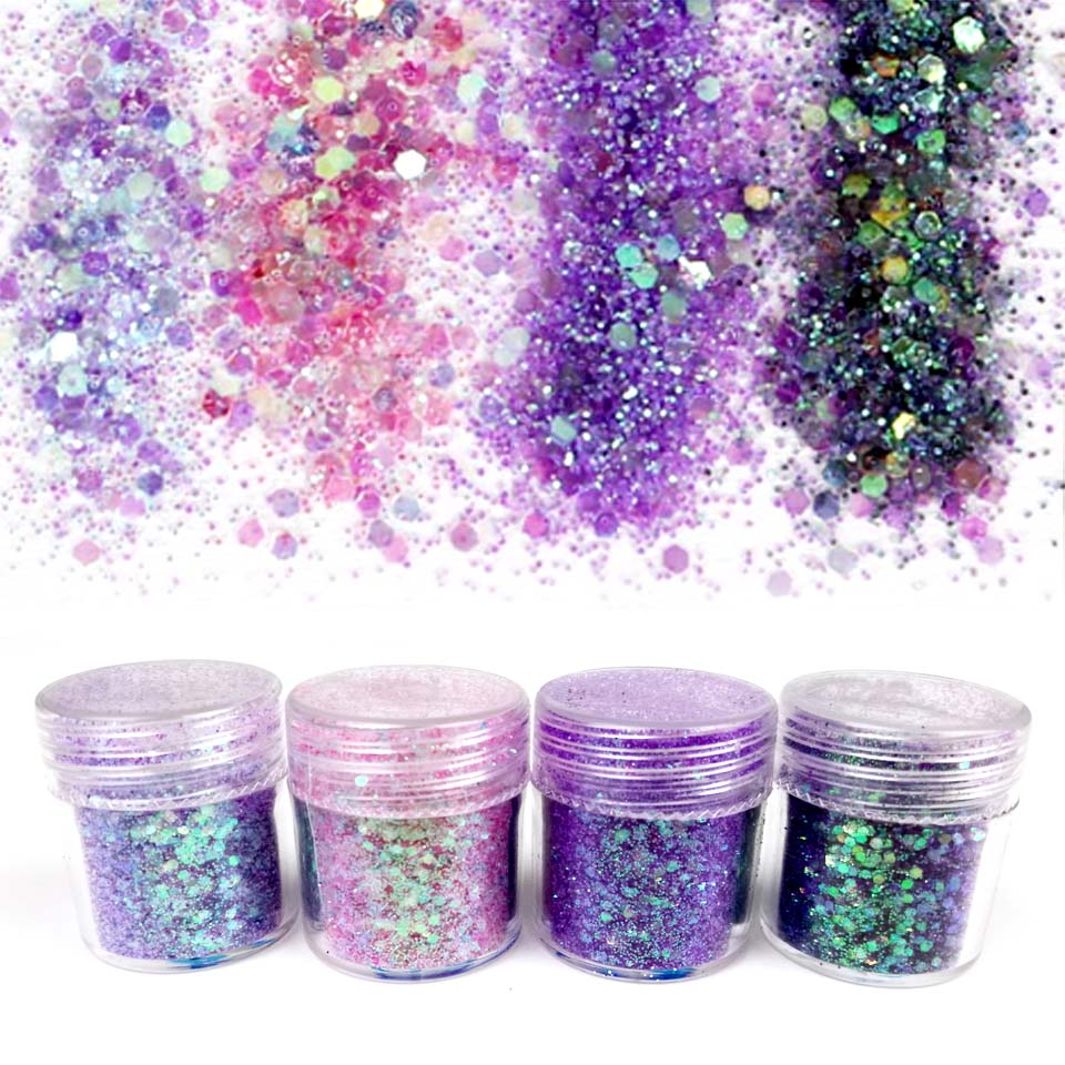 Iridescent Nail Powder Blue: 10ml Holographic Glitter Powder Sequins For Nail Dust