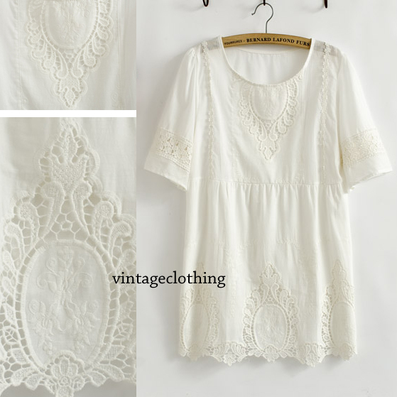74bb1b1794556 Vintage 70s ANGEL ALLOVER Cut-out Sheer CROCHET Ancient Embroidery Party  mini Wedding Dress Solid White Cotton Top Lace Blouse