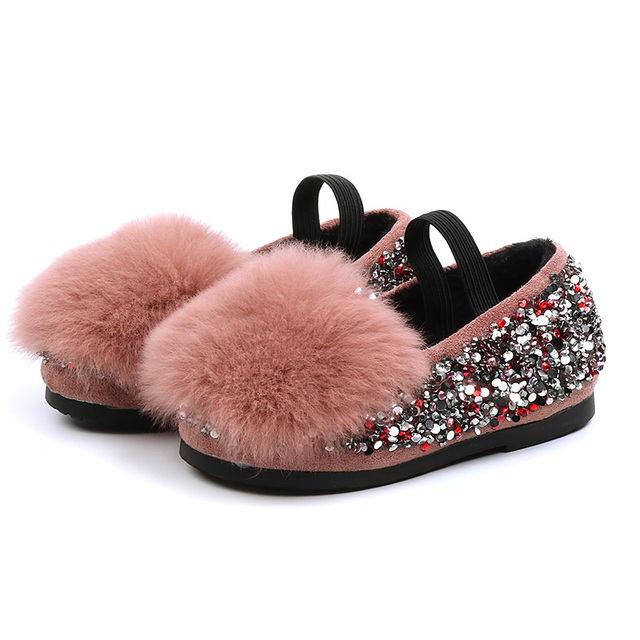 Girls' cotton shoes 2018 autumn and winter cashmere sequins leather  Korean princess Rabbit's hair shoes Super soft and comforta Girl's Shoes