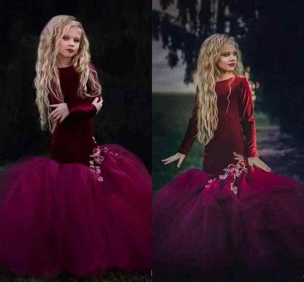 2019 Hot Burgundy Velvet Pageant Mermaid   Flower     Girls     Dresses   Long Sleeves Vintage Kids Formal Wear Embroidery Saudi Abric fille