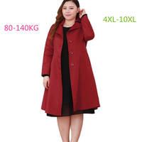 Plus size 10XL Women Woolen Jacket Autumn Winter Woolen Jackets Loose Warm Wool coat Women High quality Trench Overcoat 10XL 612