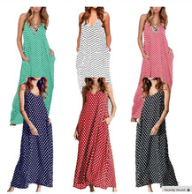 Dress Summer Beach casual Long Fashion Women V-Neck Sleeveles Pocket Polka Dots Loose Sundress Maxi Dresses