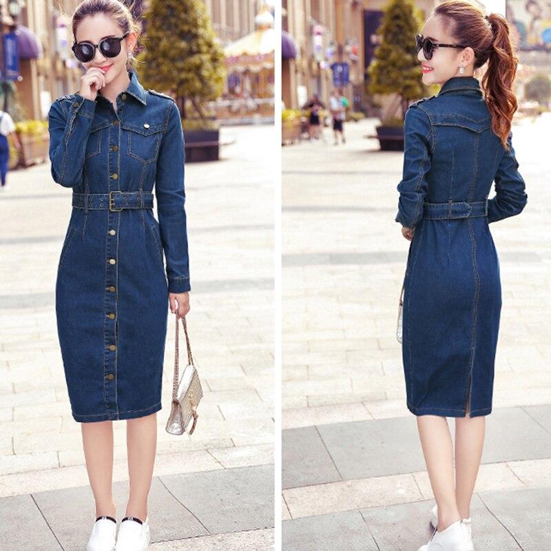 6b34633f12 Bigsweety alta calidad mujeres Denim vestido otoño vestido de vaquero OL  estilo Casual nueva moda Vestidos