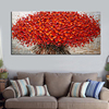 Heavy Textured Palette Knife Oil Paintings On Canvas Hand Painted Modern Abstract 3D Red Flowers Wall Decorative Pictures Art 5