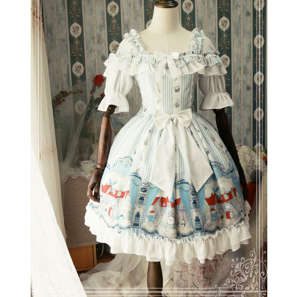 The Musicians in Bremen Town ~ Sweet Printed Half Sleeve OP dress by Magic Tea Party