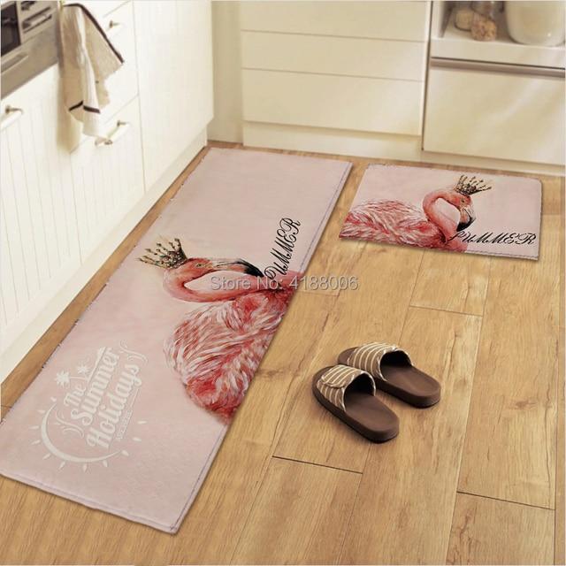 Pink Kitchen Rug Hardware For White Cabinets Meet Nice Flamingo Printer Door Floor Mat Hallway Living Room Bathroom Antislip Kids Velvet Carpet 5 Sizes