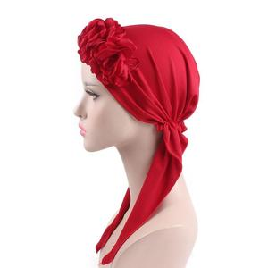 Image 2 - 2018 Muslim Women Flower Cap Cancer Hat Long Tail Cap Hair Loss Head Scarf Turban