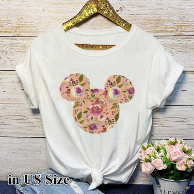 2019 Women's Fashion New Flower Cartoon with Printed Expansion White T-shirt for Women