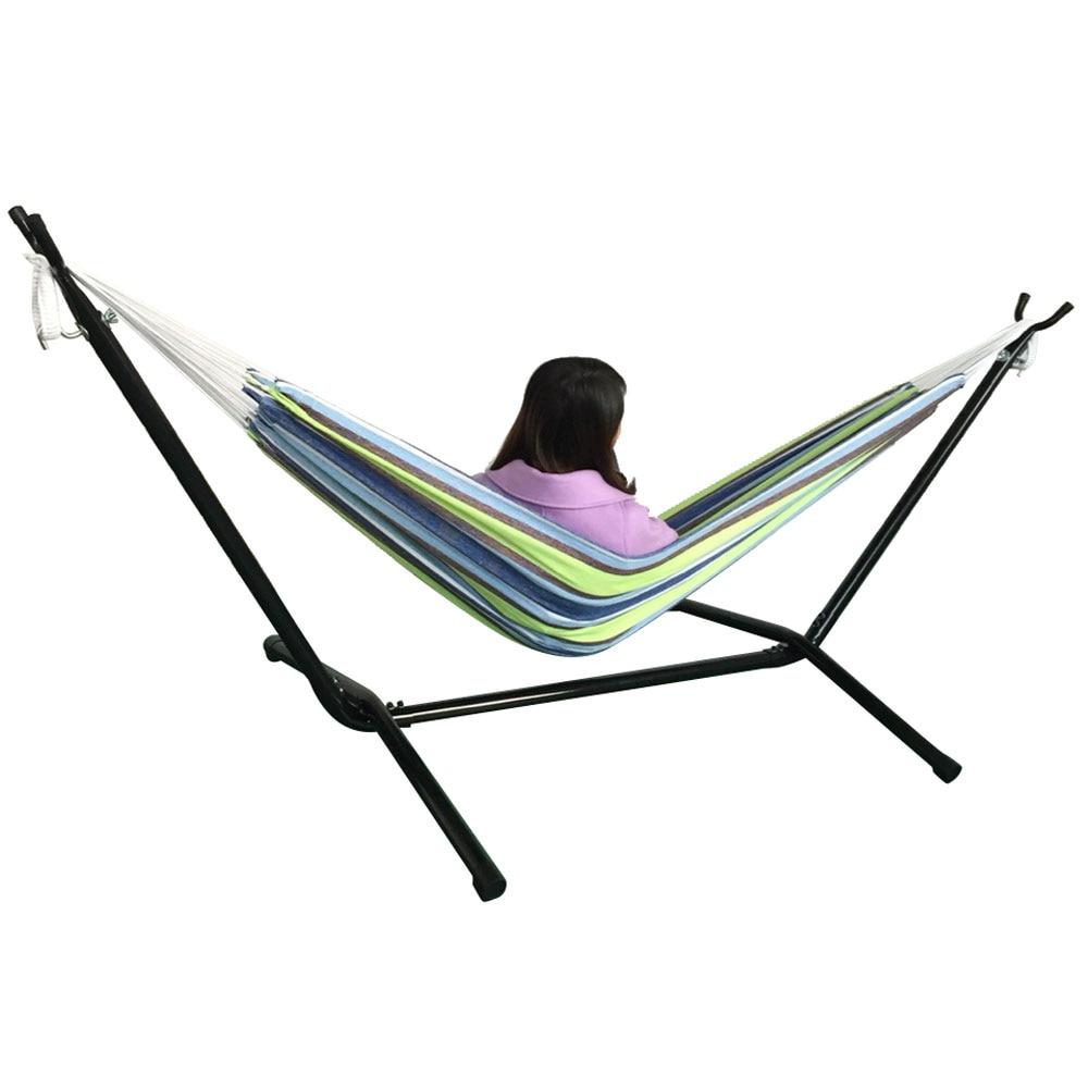 Chaise balançoire d'extérieur Double Hamac avec Support En Acier lit de camping-NOUS Stock