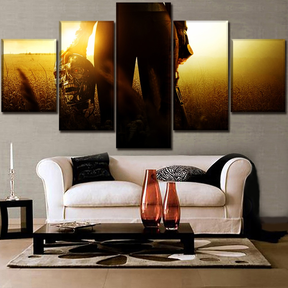 Home Decorative Living Room Wall Art 5 Panel Movie Terminator Genisys Modular Paintings High Quality Canvas HD Printed Picture in Painting Calligraphy from Home Garden