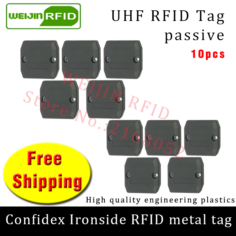UHF RFID anti metal tag confidex ironside 915mhz 868mhz Impinj Monza4QT 10pcs free shipping durable ABS smart passive RFID tags
