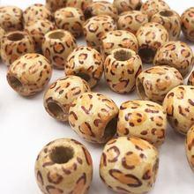Деревянные бусины с леопардовым принтом для макраме красные