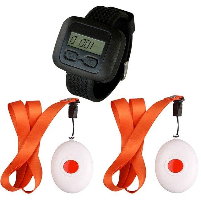 SINGCALL Беспроводная система вызова медсестры для Старых, людей с ограниченными возможностями, для больницы, медицинские кнопка вызова, 1 Часы Приемника и 2 Колоколов