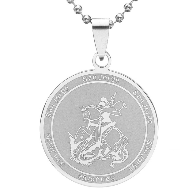 Silver tone stainless steel san jorge saint george slaying dragon silver tone stainless steel san jorge saint george slaying dragon round pendant necklace ss chain 60cm aloadofball Image collections