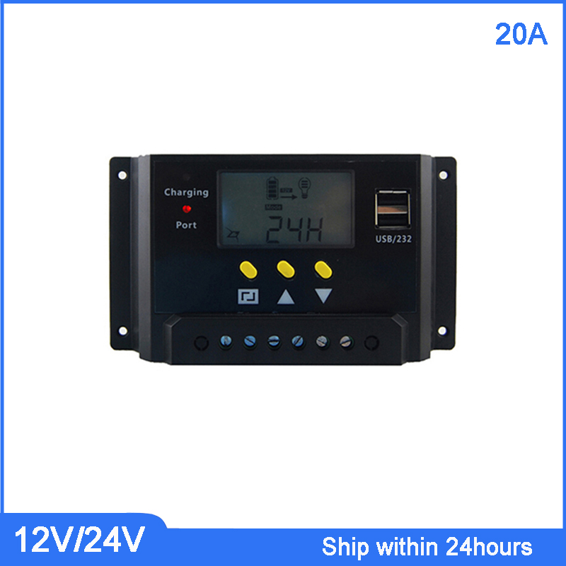 PWM Mode 20A Solar Charger Controller 12V 24V Auto Identification with LCD Display and USB Port 20A Solar Controller new style metal housing automatic identification power display 12v 24v 30a 20a solar charge controller
