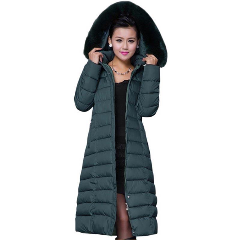 Plus Size 4XL 5XL women cotton Hood Winter Coat Women Large Faux Fur Collar Female Parka X-long Coats CE271 цены онлайн