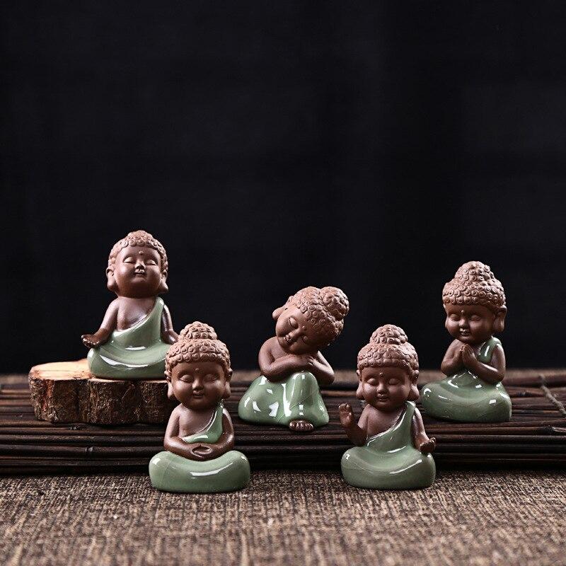 Ceramica Artigianato Creativo Decorazione Della Casa Soggiorno Feng Shui Ornamenti Carino Little Buddha Zen Come Vasi di Arredamento