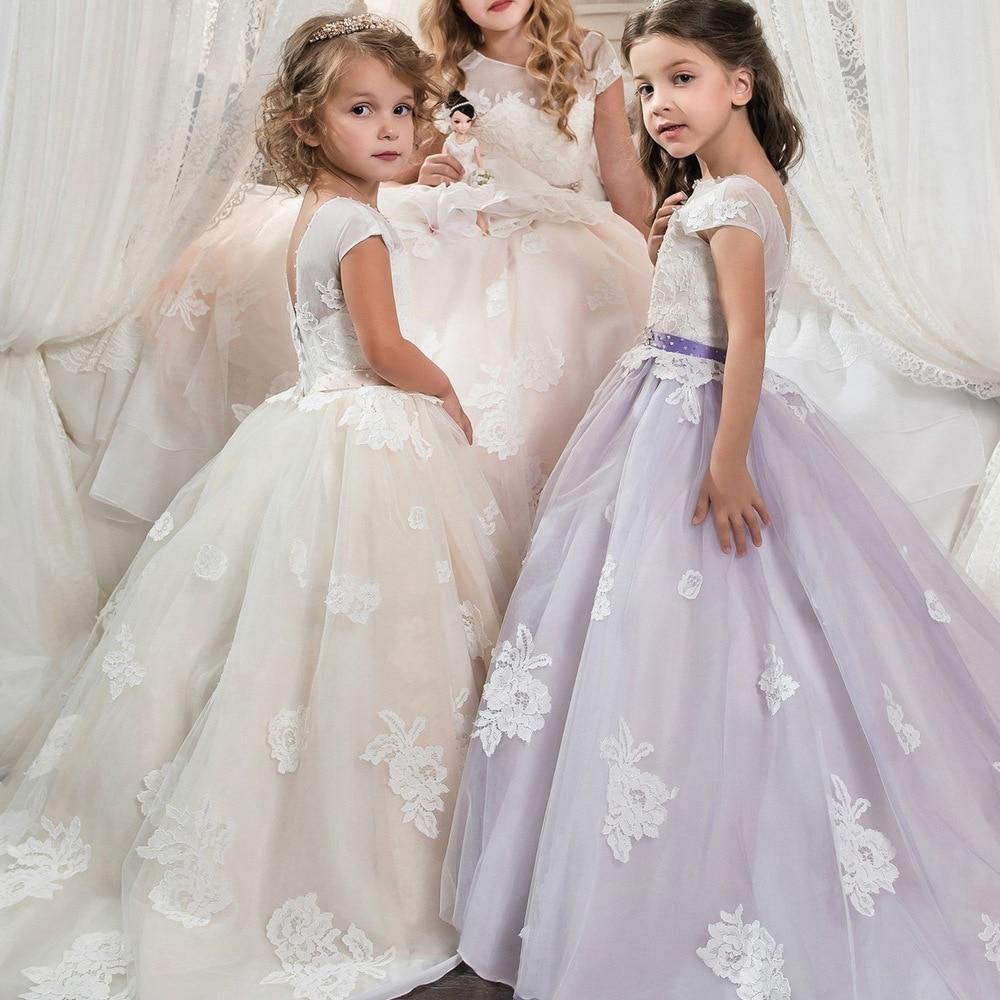 2017 new Custom Girls Dresses Applique short Kids Lace Clothes Wedding Party Dress For Girl Party Children's Princess Dre