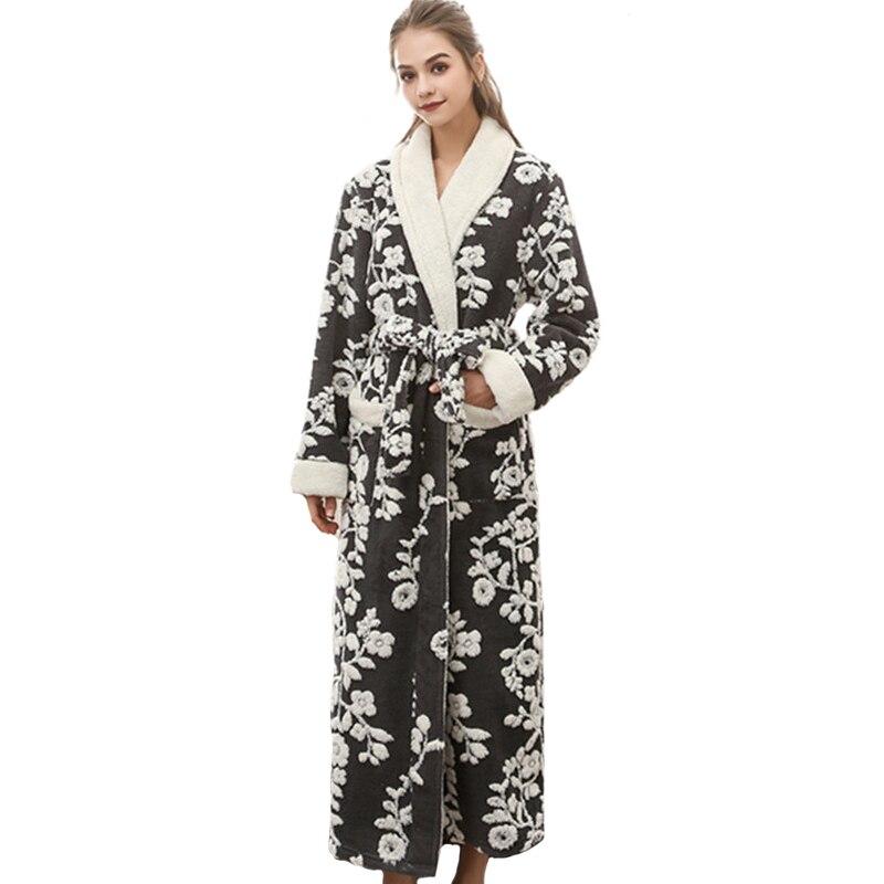 Nightwear Warm Kimono Sleepwear Long-Robe Flannel Floral Sexy Winter Casual Women Jacquard gown
