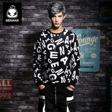 Genanx Brand Sweatshirt Male New Spring Of 2017 Black Irregular Printing Han Edition Of Student