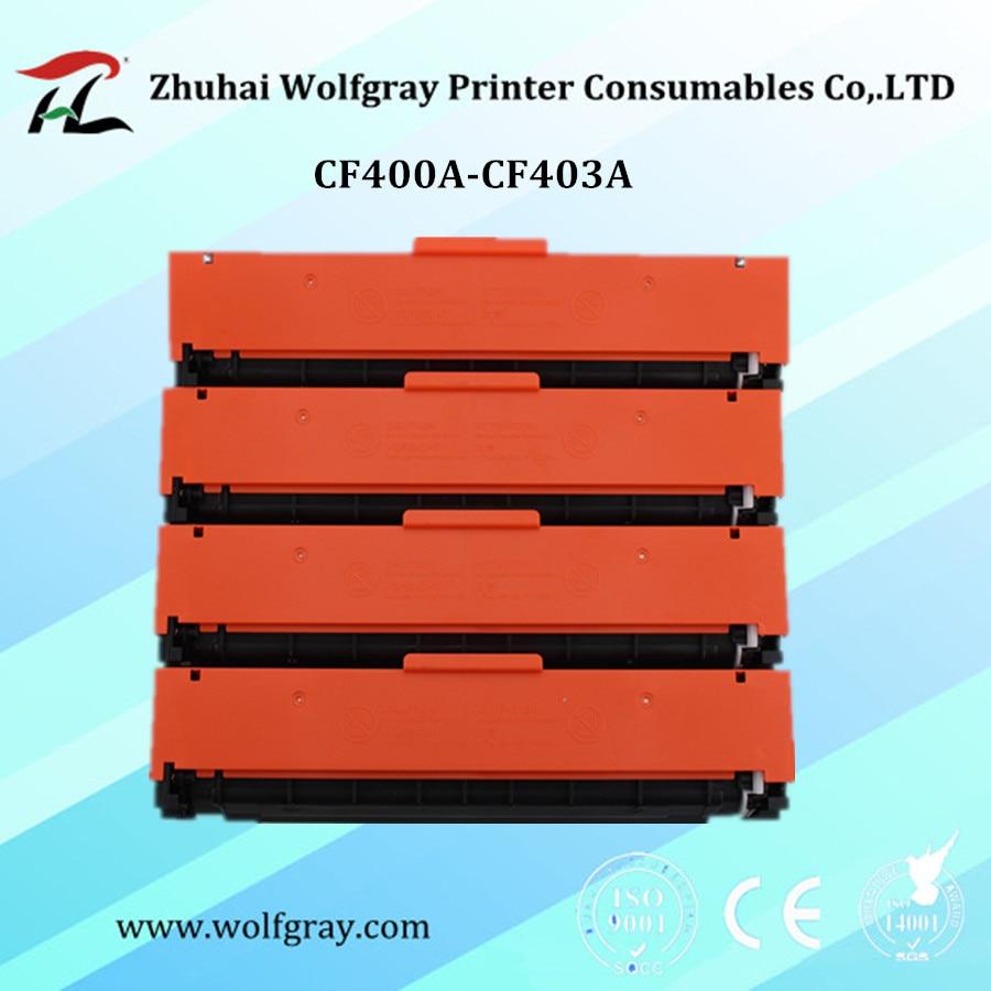 Kompatibilní tonerová kazeta CF400A 400a CF401A CF402A CF403A pro CF201A 201A pro HP Laserjet Pro M252dw / M252n MFP / M277dw / M277n