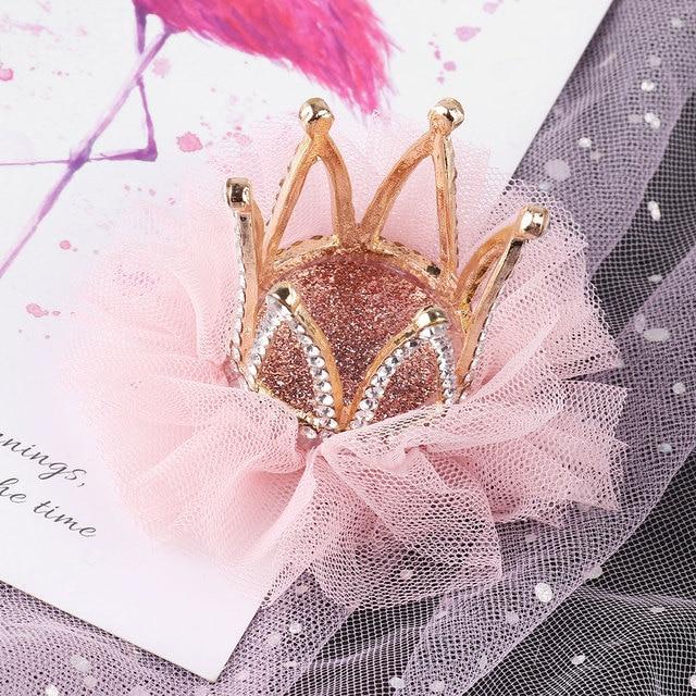 Kids Hair Clip Girls Mesh Diamond Crown Princess Flower Hair Pin Clips Beautiful Cute Tiara Baby Shower Wedding Party Decoration