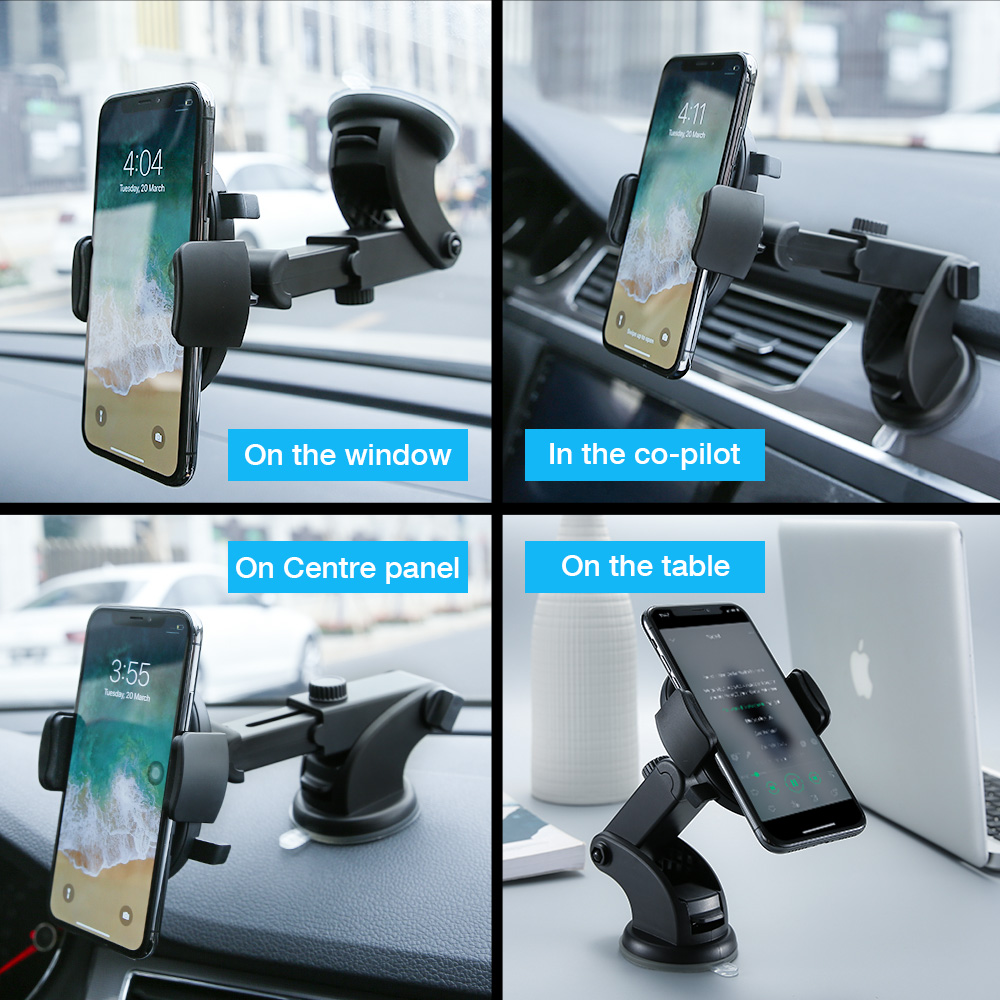 raxfly luxury car phone holder or windshield car mount phone stand for smartphones