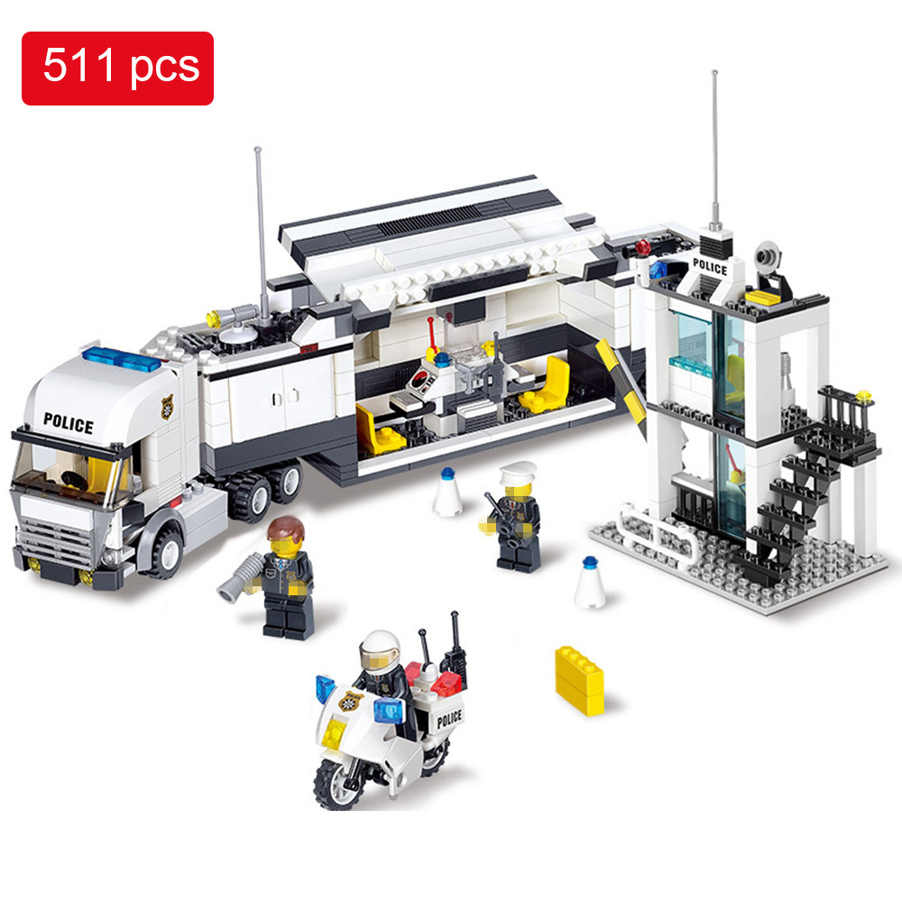 511pcs Police Station Helicopter Building Blocks set Compatible Legoed City enlighten Bricks Toys Birthday Gifts For Kids 163pcs set kids bricks birthday gifts enlighten child educational toys dumper truck diy toys building blocks set