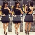 Vestidos Elegant Little Black Dress Scoop Neck Appliques Lace Backless Short Cocktail Dresses 2016 Cheap Sexy Mini Party Dress
