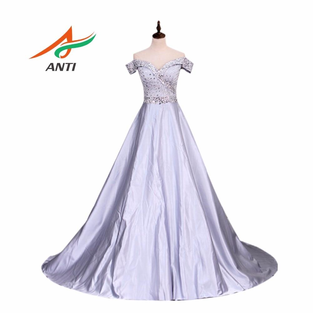 ANTI Elegant Fesyen Pakaian Perkahwinan A-Line Plus Saiz Kristal manik Vestido De Noiva Robe De Mariee Pakaian Perkahwinan berlian buatan