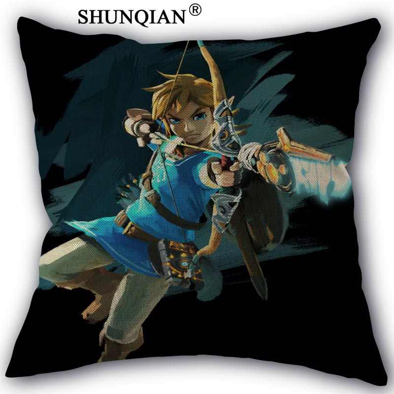 Legend Of Zelda Cotton Linen Pillowcase Custom Home Textile Bedroom Wedding Office Decorative Pillow Covers 45x45cm One Side