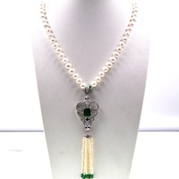 2018 Lady Women Natural Pearls Long Sweater green Onyx Rhinestone Necklace Female Wedding & Engagement Jewelry