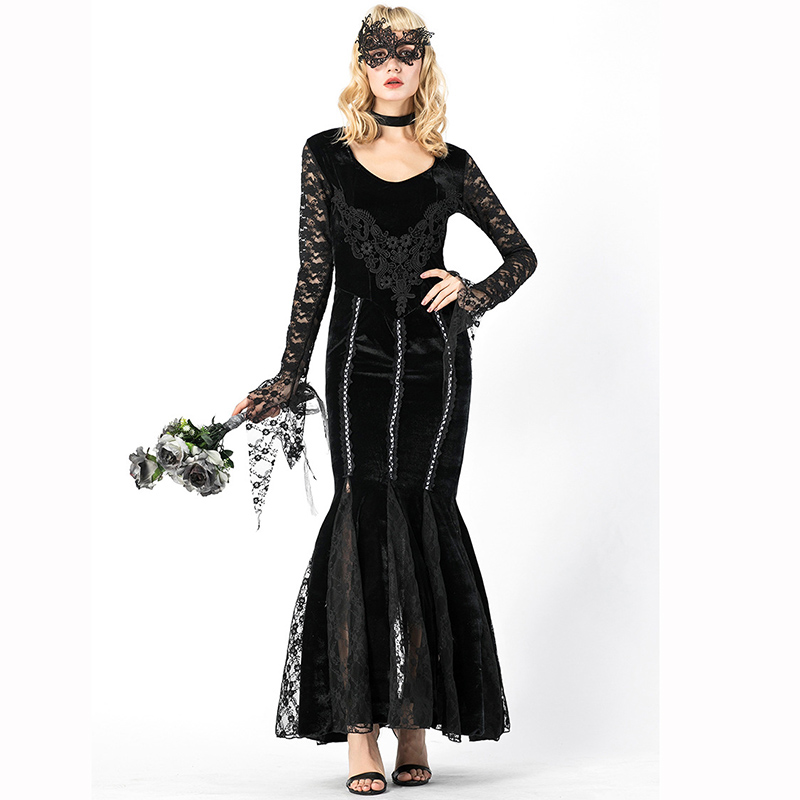 Black Halloween Devil Party Masquerade Sexy Role Playing Costumes Gothic Tuxedo Dress Scary Vampire Countess Costume With Mask