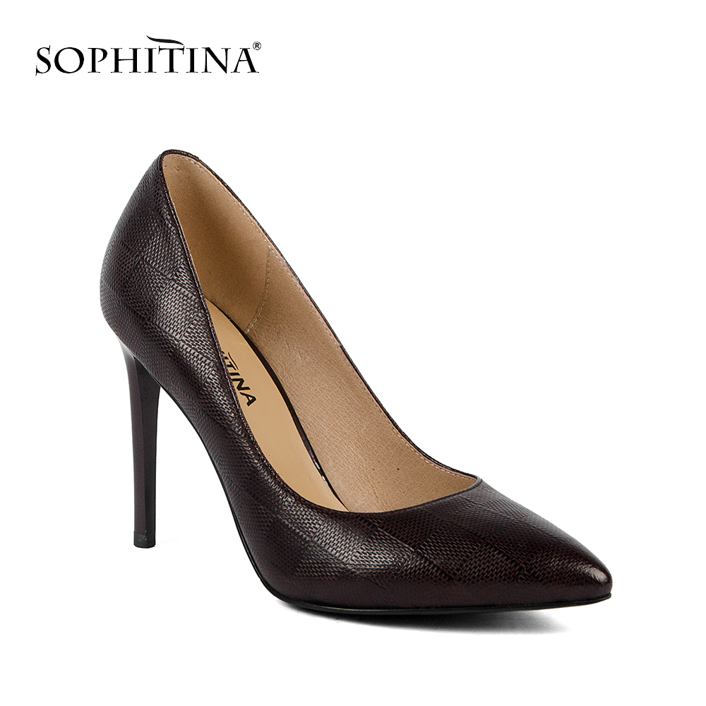 SOPHITINA 2019 Spring New Genuine Leather Super High Heel Fashion Checked Pattern Pointed Toe Party Pumps