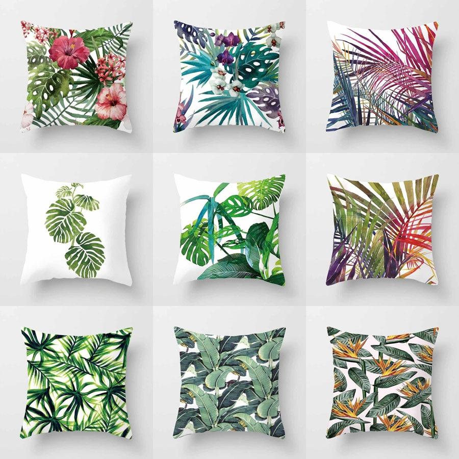 Plantas tropicais capa de almofada poliéster folhas verdes decorativo fronha tropical planta lance fronha capa de almofada