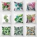 Тропические растения подушка из полиэстера зеленые листья Декоративная Подушка Чехол тропические растения Подушка Чехол для подушки