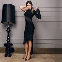 2018 Mới Nhất Phụ Nữ Bandage Dress Thời Trang Một Vai Dài Tay Áo Bodycon Tua Eveing Elegant Đảng Dresses Vestidos Bán Buôn