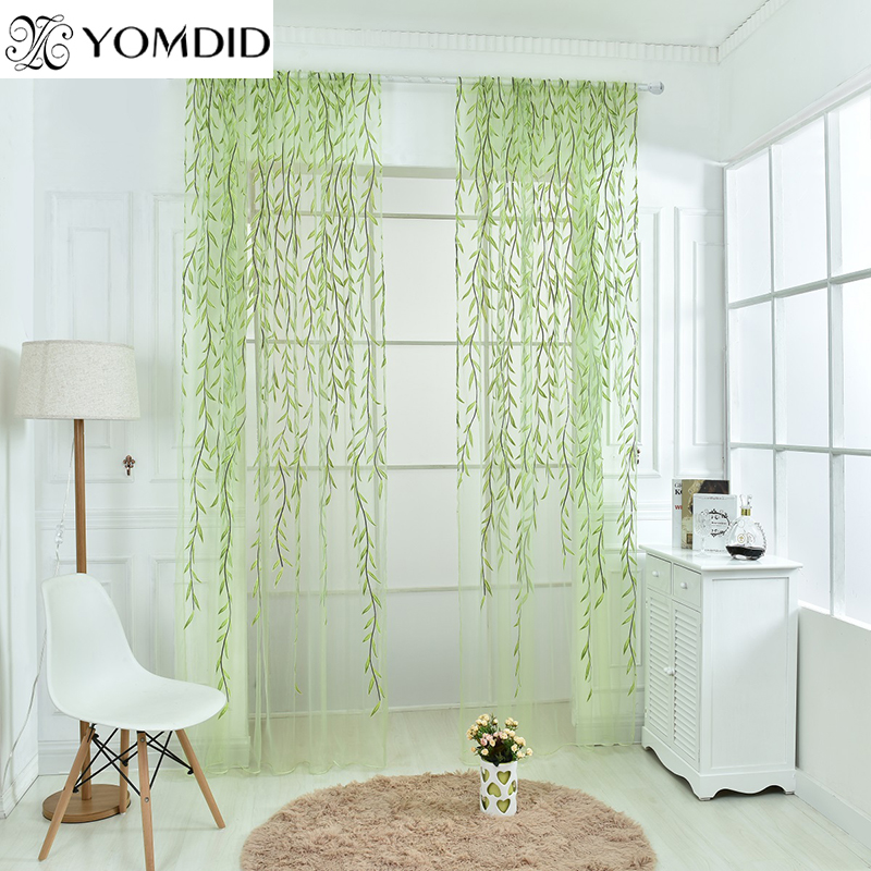 Wicker offset printed Curtain of Muslin cool window Pastoral floral Curtains for Window Living room kitchen Gauze cortina sala