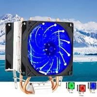 LED 2 Heat Pipe Quiet CPU Cooler Heatsink Dual Fan For LGA 1155 775 1156 AMD 12V Dual CPU Cooler Quiet Powerful Fan For AMD