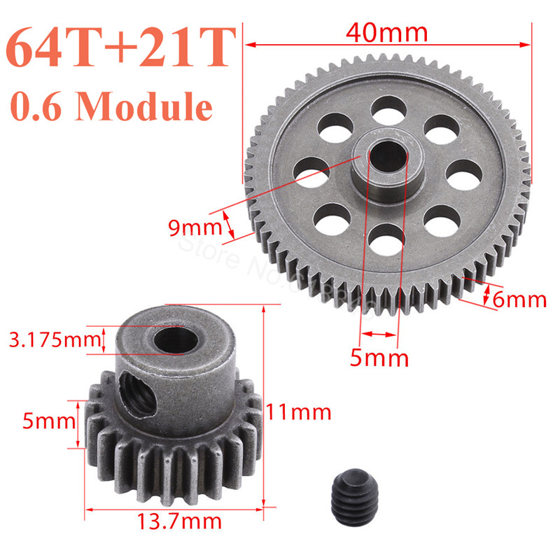 11184 Metal Diff Main Gear 64T 11181 Motor Pinion Gears 21T Truck 1/10 RC Parts HSP BRONTOSAURUS Himoto Amax Redcat Exceed 94111 hsp 02024 differential diff gear complete 38t for 1 10 rc model car spare parts fit buggy monster