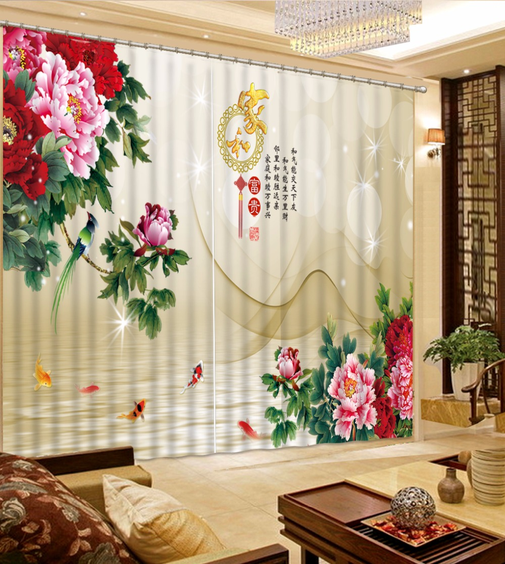 Colorful Living Room Curtains: Curtains Decoration Colorful Flower Window Curtains For